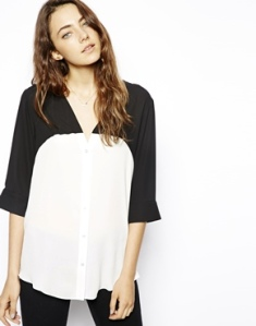 ASOS Blouse with V-Neck In Mono Colourblock
